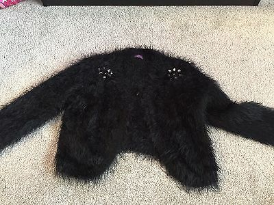 Girls Black Fluffy Cardigan Age 9 To 10 Years