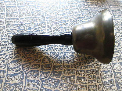 Antique Brass School Bell with wood handle/France