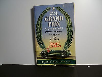 daily express 5th RAC british grand prix 19/7/1952 official programme fair/cond.