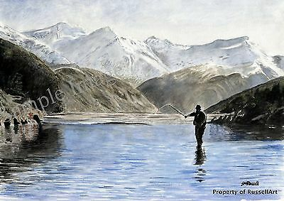 The Fisherman - fishing landscape countryside Signed Art Print of painting