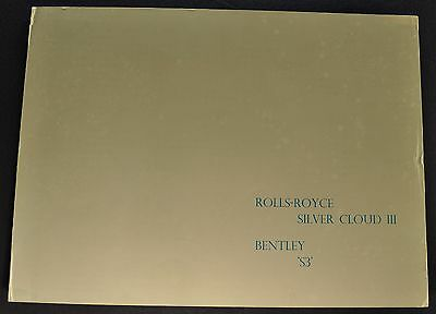 1963 Rolls Royce Silver Cloud III Bentley S3 Brochure Folder Nice Original 63
