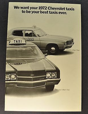 1972 Chevrolet Taxi Brochure Folder Biscayne Chevelle Nova Excellent Original 72