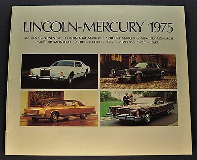 1975 Lincoln Mercury Brochure Mark IV Continental Cougar Marquis Montego Comet