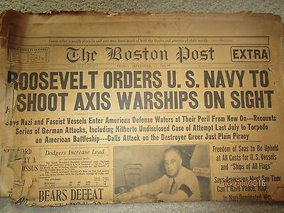 Roosevelt orders US Navy to shoot axis-Vintage Paper
