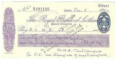 THE ROYAL BANK OF SCOTLAND - 1962 cheque from the Oban branch