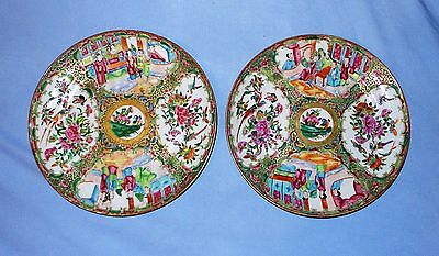 Pair of Chinese Canton Famille Rose Plates