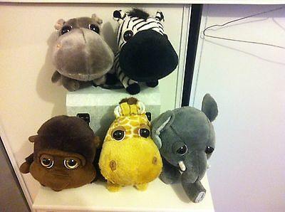 5 Peluches jungle Gros Yeux