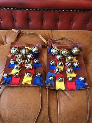 Vintage Morris Dancing Leg Bells On Leather Rare