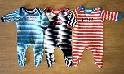 Bundle Boys Babygrows Rompers All In Ones *3 Suits* Matching Set TINY BABY