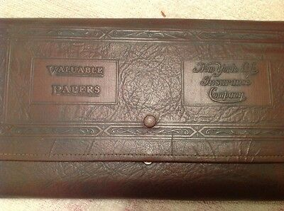 new york life insurance leather pouch for valuables 1920s