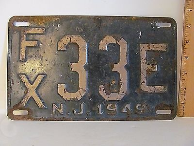 1949 New Jersey License Plate All Original Paint Black with Beige Letters Lot FX