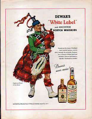 1956 DEWAR'S WHITE LABEL AD- Traditional Tartan of CLAN BRUCE