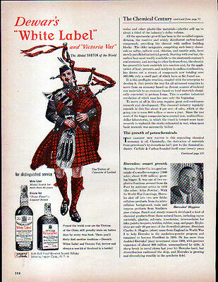 1940's DEWAR'S WHITE LABEL AD- Traditional Tartan of Cameron of Lochiel