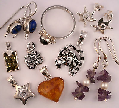New Lot Sterling Silver Baltic Amber & Gemstone Jewellery from old business 17g