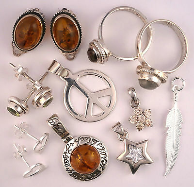New Lot Sterling Silver Baltic Amber & Gemstone Jewellery from old business 23g