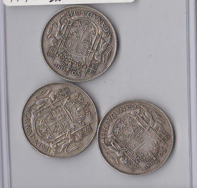Canada Silver Coin Fifty 50 Cent Coins 1951 1944 1943 Canadian SILVER