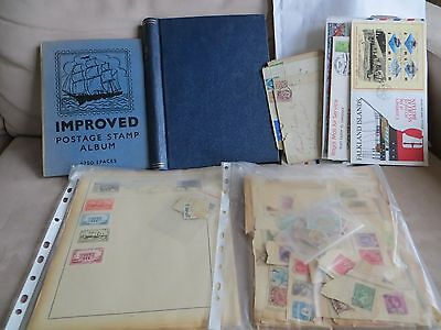 Box containing 2 albums, covers, 100's of loose stamps and stamps on album pages