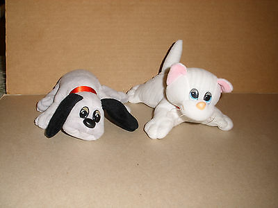 Vintage Tonka Pound Puppies 1986 Gray Puppy And Gray Stripe Cat Plush 7 1/2 In