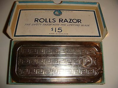 Antique Art Deco English Rolls Razor Nickel Plated Imperial #2 in Original Box