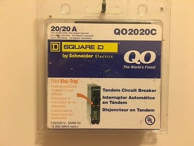 Square D Circuit Breaker QO2020C 2P 20A NEW