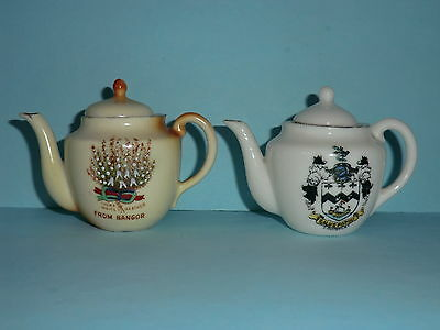 Two Miniature Crested China Tea Pots - Retired Greyhound Trust Charity Auction