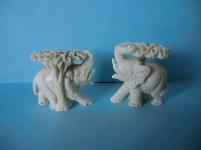 Two Handcarved Elephant Ornaments