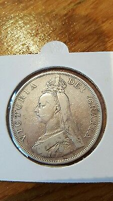 1888 Queen Victoria Great Britain Silver Double Florin Coin
