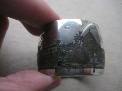 Antique Niello & Solid Silver Middle East Iraq Pictorial Circular Napkin Ring