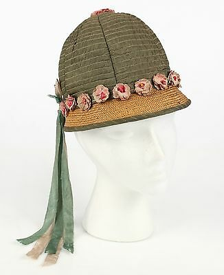 VTG 1920s GIRL'S GREEN QUILTED & NATURAL STRAW CLOCHE HAT BONNET FLOWERS