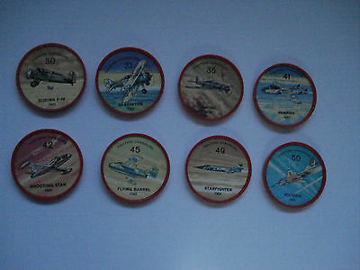 Jell-O Promotion Lot Of 8 Plastic Coins Red Color Fighters Airplane Vintage