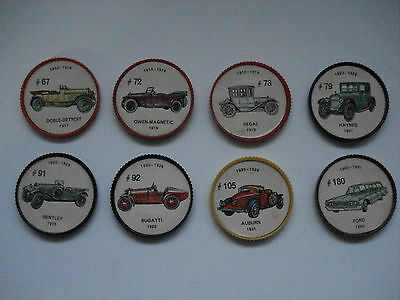 Jell-O Promotion Lot Of 8 Plastic Coins Mixed Color Picture Wheels Car Vintage