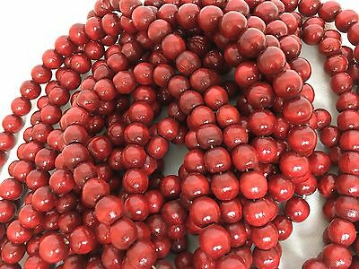 Vintage Deep Cranberry Red Wooden Bead Christmas Tree Garland