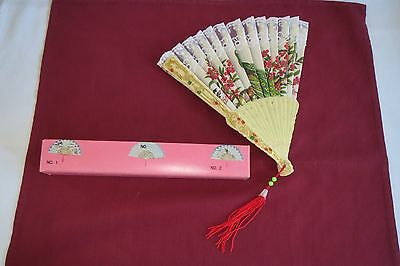 Vintage Chinese Classical Lace Trimmed Fan With Peacock 1960's W/ Original Box