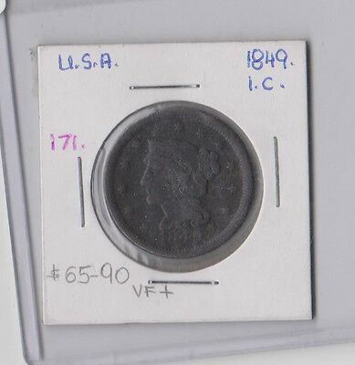 1849 USA 1 Cent One Penny Coin Braided Hair RARE United States VF+ $80