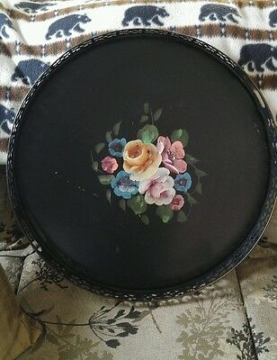 Large Vintage 19.75 Inches.Round Tole Tray, Reticulated Rim Shabby Chic