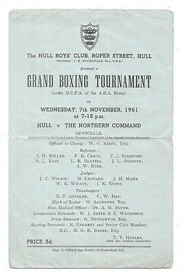 1951 - Hull v The Northern Command, Grand Boxing Tournament Programme