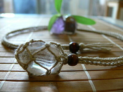 Hand Made Hemp Macrame Pouch Necklace (Interchangeable) Pure & 1 Tumble stone