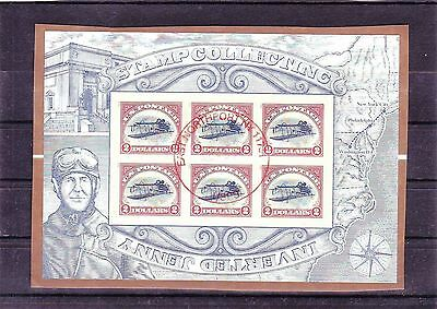 USA - Inverted Jenny Sheet of 6 stamp $2 Complete postally used on piece
