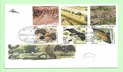 ISRAEL 2013 - Eagles ,3 Imperforate stamps Top  Tabs Type (1) on  FDC
