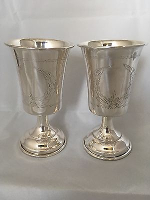Pair of sterling silver Kiddush Goblets