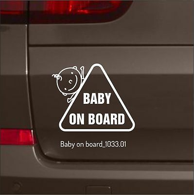 Baby on Board White Safety Sticker Funny Kids Decal Car Window Bumper Vinyl