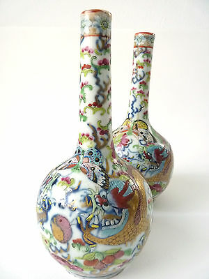 Pair of 19th Century Chinese Vases painted with dragons