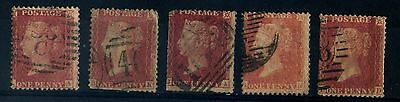 Queen Victoria - 5 Penny Red stamps, stars in top corners used (6)