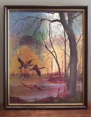 Stunning Vintage Flying Geese Picture - Foil Art