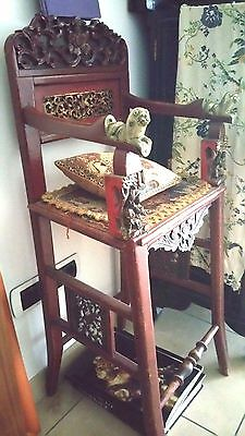 Asian Antique 18th c. Chinese Coromandel and Gilt lacquered Child Throne Chair