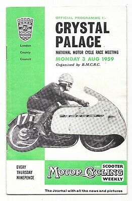 Crystal Palace, 1959 - National Motor Cycle Race Meeting Programme.