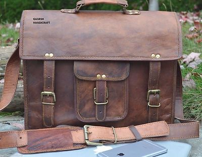 NEW Men's Vintage Messenger Bag Shoulder Laptop Briefcase Genuine Leather Brown