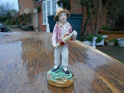 """Small Vintage Staffordshire Pottery Figure of Boy with Violin 5"""" tall"""
