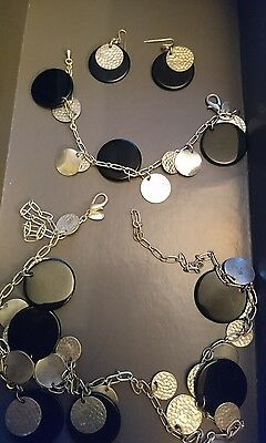Jaeger necklace, bracelet and earrings set black and silver