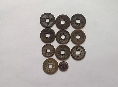 10 Old Chinese Bronze Coins .